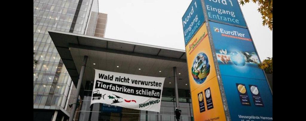 Kletteraktion zur Eröffnung der Eurotier 2016 in Hannover
