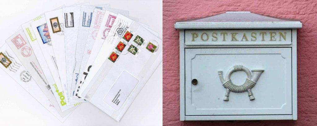 Briefumschläge und Briefkasten