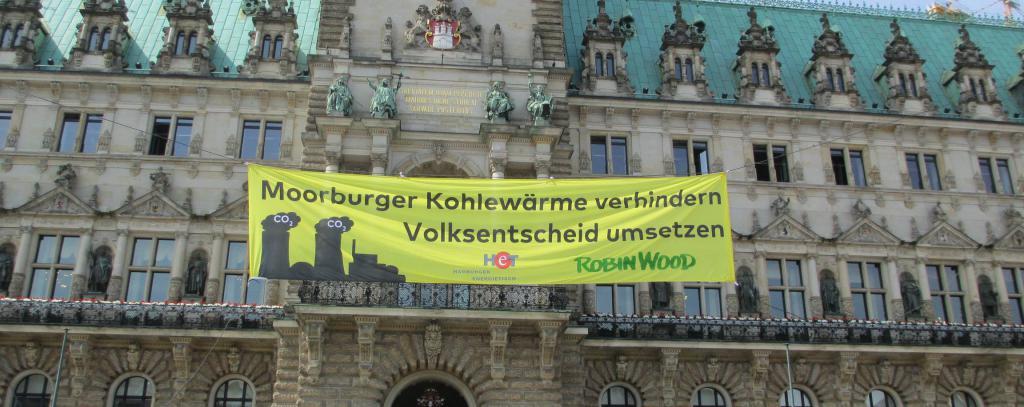 Aktion gegen die Moorburg Kohle Fernwärmetrasse am Rathausmarkt am 29.05.2017