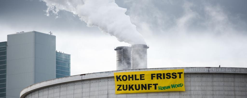 Anti-Kohle Aktion am Steinkohlekraftwerk Moorburg