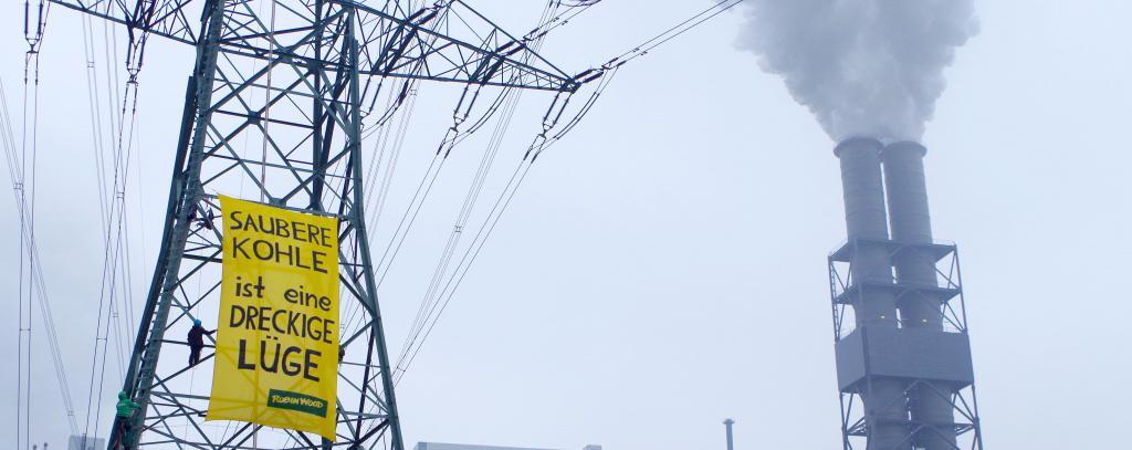 ROBIN WOOD Kletter Aktion - Sauber Kohle ist eine dreckige Lüge