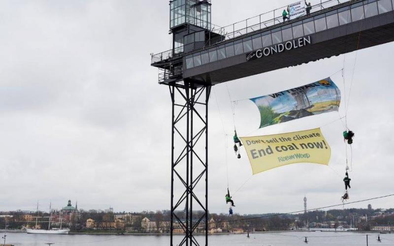 Protest in Stockholm zur Vattenfall-Jahreshauptversammlung 2016