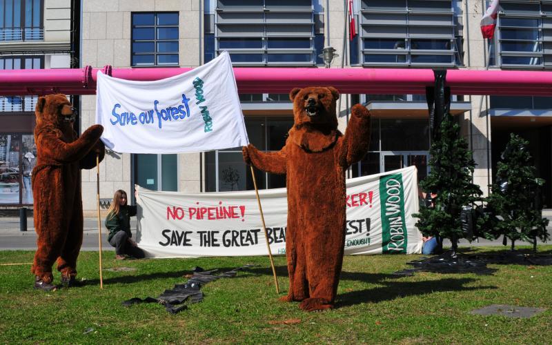Great Bear Rainforest Aktion Pipeline (Foto: ROBIN WOOD)