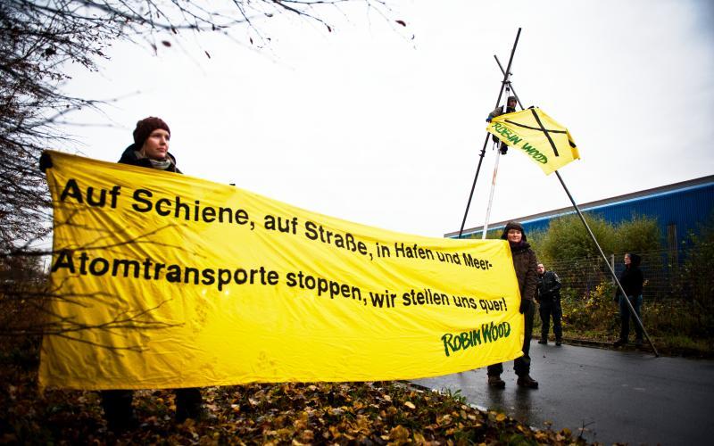 Protest gegen Plutonium-Transport in Nordenham an der Unterweser