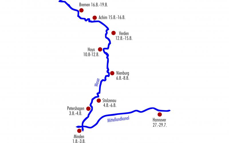 Route der Floßtour von Hannover nach Bremen