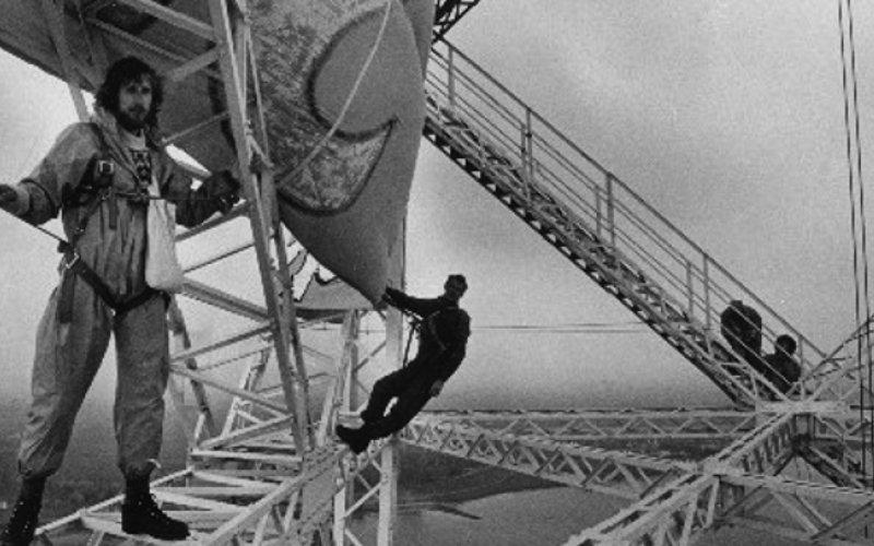 ROBIN WOOD Aktion am Strommast in Stade 1986