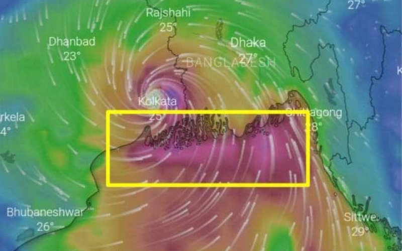 Zykoln Amphan trifft die Küste von Bangladesch