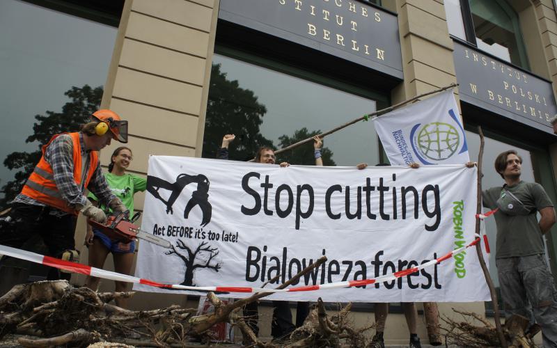 Bialowieza Protest Aktion in Berlin