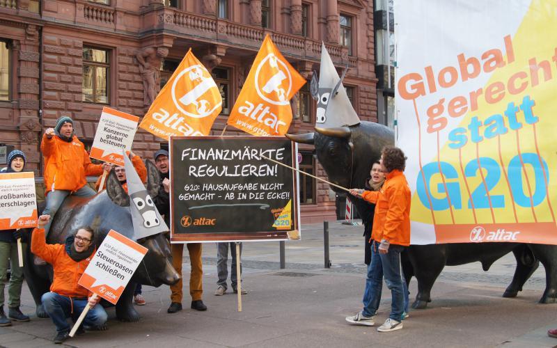 attac Frankfurt G20-Aktion Börse