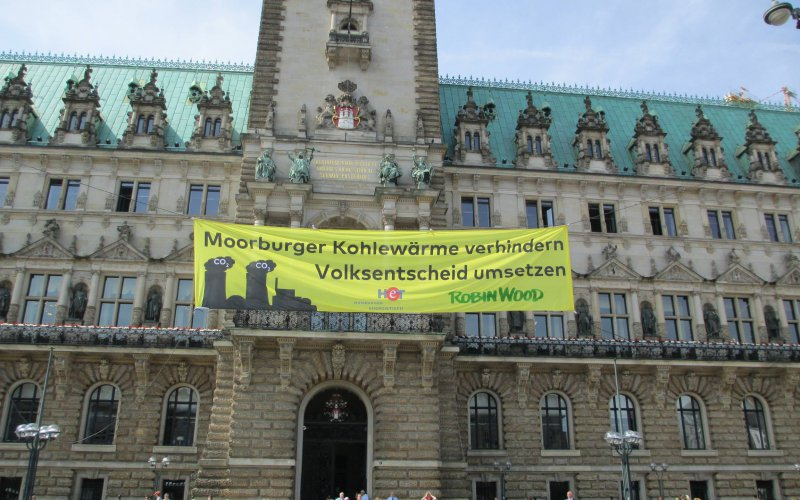 Aktion gegen die Fernwärmeleitung vom Kohlekraftwerk Moorburg am Rathausmarkt Hamburg am 29.05.2017