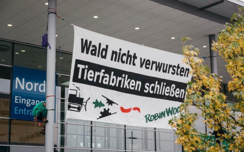 """15.11.2016, Hannover: ROBIN WOOD protestiert gegen die industrielle Tierproduktion bei der Messe """"EuroTier"""""""